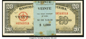 Cuba Banco Nacional de Cuba 20 Pesos 1958 Pick 80b 50 Consecutive Examples Crisp Uncirculated. Some minor staining is present on outer notes and edges...