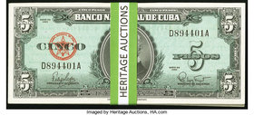 Cuba Banco Nacional de Cuba 5 Pesos 1960 Pick 92a 60 Examples Choice Crisp Uncirculated. Two consecutive runs: D894401A-D894439A and D894480A-D894500A...