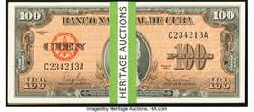 Cuba Banco Nacional de Cuba 100 Pesos 1959 Pick 93 37 Examples Crisp Uncirculated. Some consecutive runs are included in this lot.  HID09801242017
