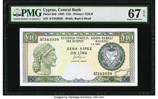 Cyprus Central Bank of Cyprus 10 Pounds 1.9.1995 Pick 55d PMG Superb Gem Unc 67 EPQ.   HID09801242017