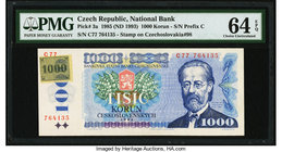 Czech Republic National Bank 1000 Korun 1985 (ND 1993) Pick 3a PMG Choice Uncirculated 64 EPQ.   HID09801242017