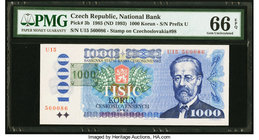 Czech Republic National Bank 1000 Korun 1985 (ND 1993) Pick 3b PMG Gem Uncirculated 66 EPQ.   HID09801242017