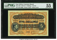 "East Africa East African Currency Board 5 Shillings 1.8.1951 Pick 28b PMG About Uncirculated 55. PMG comments ""Great Embossing"" on this example.  HID0..."