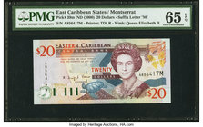 East Caribbean States Central Bank, Montserrat 20 Dollars ND (2000) Pick 39m PMG Gem Uncirculated 65 EPQ.   HID09801242017