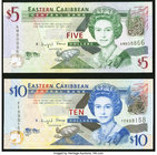 East Caribbean States Central Bank 5; 10 Dollars ND (2003) Pick 42a; 43f Two Examples Crisp Uncirculated.   HID09801242017