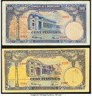"French Indochina Banque de l'Indo-Chine 100 Piastres ND (1946) Pick 79a; 79x Very Fine or Better. The Pick 79x Counterfeit has been stamped ""FAUX"" on ..."