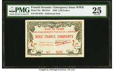 French Oceania Bons de Caisse 2.50 Francs 25.9.1943 Pick 13c PMG Very Fine 25.   HID09801242017