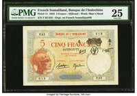 French Somaliland Banque de l'Indochine, Djibouti 5 Francs 1.1.1943 Pick 11 PMG Very Fine 25.   HID09801242017