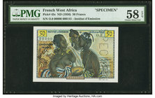 French West Africa Institut d'Emission de l'AOF et du Togo 50 Francs ND (1956) Pick 45s Specimen PMG Choice About Unc 58 EPQ.   HID09801242017