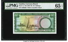 Gambia Gambia Currency Board 10 Shillings ND (1965-70) Pick 1a PMG Gem Uncirculated 65 EPQ.   HID09801242017