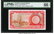 Gambia Gambia Currency Board 1 Pound ND (1965-70) Pick 2a PMG Gem Uncirculated 66 EPQ.   HID09801242017