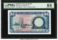Gambia Gambia Currency Board 5 Pounds ND (1965-70) Pick 3a PMG Choice Uncirculated 64.   HID09801242017