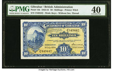 Gibraltar Government of Gibraltar 10 Shillings 1.7.1954 Pick 14b PMG Extremely Fine 40.   HID09801242017