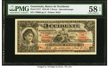 Guatemala Banco de Occidente 5 Pesos 15.1.1918 Pick S177 PMG Choice About Unc 58 EPQ.   HID09801242017