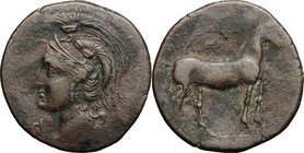 Hispania. Punic Iberia. AE Unit , c. 237-209 BC. D/ Helmeted head of Athena left; Punic yod below chin. R/ Horse standing right. Cf. SNG BM Spain 51 v...