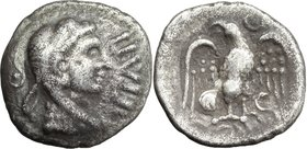 Celtic Britain. Britain, Trinovantes and Catuvellauni. Epaticcus (circa 35-43 AD). AR Unit. D/ Head of Hercules right; pellet in annulet to left, EPAT...