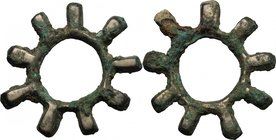 Celtic World. Celtic Gaul, Uncertain Tribe. AE Ring money, La Tene, 3rd-1st century BC. D/ Nine-toothed ring. AE. g. 7.25 mm. 31.00 AE. Golden brown t...