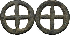 Celtic World. Celtic Gaul, Uncertain Tribe. AE Wheel money, c. 1st century BC. D/ Four-spoked wheel. Victoor IX-2b; Forrer 139; Castelin 982. AE. g. 1...
