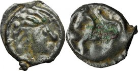 Celtic World. Northwest Gaul, Senones. Potin Unit, c. 100-50 BC. D/ Stylized bare head right; pellet before. R/ Stylized horse left; pellets around. D...