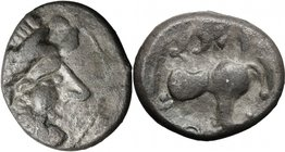 Celtic World. Celts in Eastern Europe. AR Tetradrachm, Kugelwange type, c. 3rd century BC. D/ Celticized laureate and bearded head of Zeus right. R/ S...