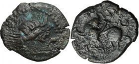 Celtic World. Celts in Eastern Europe. Debased AR Tetradrachm, c. 2nd century BC. D/ Celticized laureate and bearded head of Zeus right. R/ Stylized r...