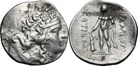 Celtic World. Celts in Eastern Europe. AR Tetradrachm, imitation of Thasos, after 148 BC. D/ Wreathed head of young Dionysos right. R/ Herakles standi...