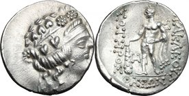 Celtic World. Celts in Eastern Europe. AR Tetradrachm, imitation of Thasos, after 148 BC. D/ Wreathed head of young Dionysos right. R/ Blundered legen...