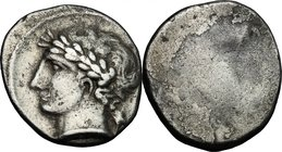 Greek Italy. Etruria, Populonia. AR 10-Asses, 3rd century BC. D/ Laureate male head left; behind, X. Linear border. R/ Blank, with a shallow protubera...