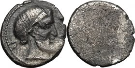 Greek Italy. Etruria, Populonia. AR 5-Asses, 3rd century BC. D/ Diademed and bearded head right; behind, V. Dotted border. R/ Blank. Vecchi EC I, 89 (...