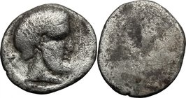 Greek Italy. Etruria, Populonia. AR 5-Asses, 3rd century BC. D/ Diademed and bearded head right; behind, V. Dotted border. R/ Blank. Vecchi EC I, 89; ...