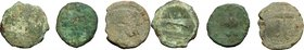 Greek Italy. Etruria, Populonia. Multiple lot of three (3) AE coins, late 3rd century BC. AE. 25,5mm, 8,92g. ; 25mm, 6,99g. ; 23mm, 5,91g. Fair.