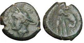 Greek Italy. Samnium, Southern Latium and Northern Campania, Suessa Aurunca. AE Obol, c. 265-240 BC. D/ ΠROBOM. Head of Hermes left, wearing winged pe...