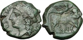 Greek Italy. Samnium, Southern Latium and Northern Campania, Suessa Aurunca. AE 18.5 mm, c. 270-240 BC. D/ SVESANO. Laureate head of Apollo left; N to...