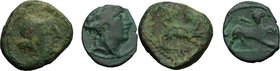 Greek Italy. Central and Southern Campania, Capua (?). Multiple lot of two (2) AE coins, 3rd century BC. D/ Wreathed head of Dionysos right. R/ Lion o...