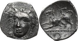 Greek Italy. Central and Southern Campania, Phistelia. AR Obol, circa 325-275 BC. D/ Female head facing, slightly left. R/ Lion standing left, raising...