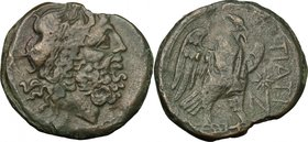 Greek Italy. Northern Apulia, Teate. AE Nummus, c. 275-225 BC. D/ Head of Zeus of Dodoma right, wearing oak-wreath. R/ TIATI. Eagle standing right on ...