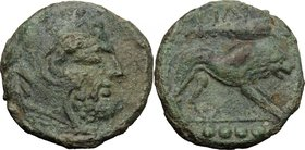 Greek Italy. Northern Apulia, Teate. AE Quadrunx, c. 225-200 BC. D/ Head of Herakles right. R/ Lion right; club above; in exergue, four pellets. HN It...