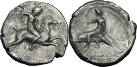 Greek Italy. Southern Apulia, Tarentum. AR Nomos, c. 400-390 BC. D/ Nude youth, holding goad, on horse galloping right. R/ Phalantos, nude, holding ak...