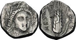 Greek Italy. Southern Lucania, Metapontum. AR Stater, 330-290. D/ Head of Demeter three-quarters facing right, wearing tiny stephane with rosette and ...