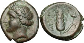 Greek Italy. Southern Lucania, Metapontum. AE 16, c. 300-250. D/ Head of Demeter left, wearing barley wreath. R/ Barley-ear with leaf to right; to lef...