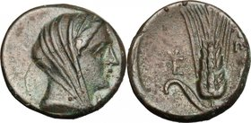 Greek Italy. Southern Lucania, Metapontum. AE 16, c. 300-250. D/ Veiled head of Demeter right, wearing stephane. R/ Barley-ear with leaf to left; to l...