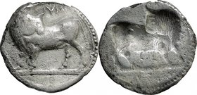 Greek Italy. Southern Lucania, Sybaris. AR Stater, 550-510 BC. D/ Bull standing left, head turned back; above, YM. R/ Same type incuse. HN Italy 1729....