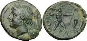 Greek Italy. Bruttium, Brettii. AE Half-Unit, c. 214-211 BC. D/ NIKA. Diademed head of Nike left; (behind, ear of barley?). R/ ΒΡΕΤΤΙΩΝ. Zeus striding...
