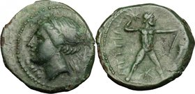 Greek Italy. Bruttium, Brettii. AE Half-Unit, c. 214-211 BC. D/ NIKA. Diademed head of Nike left; behind, ear of barley. R/ ΒΡΕΤΤΙΩΝ. Zeus striding ri...