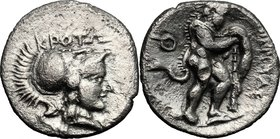 Greek Italy. Bruttium, Kroton. AR Triobol, c. 300-250 BC. D/ KPOTΩ. Helmeted head of Athena right. R/ Herakles advancing right, wearing lion skin and ...