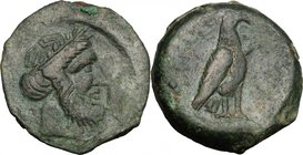 Greek Italy. Bruttium, Locri. AE 23 mm. c. 300-268. D/ Laureate head of Zeus right. R/ Eagle standing right, on rocks, wings closed. SNG Cop. 1872; SN...
