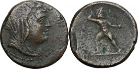 Greek Italy. Bruttium, Petelia. AE 20.5 mm, late 3rd century BC. D/ Veiled and wreathed head of Demeter right. R/ Zeus standing facing, brandishing th...