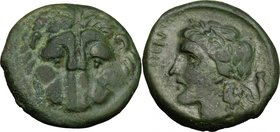 Greek Italy. Bruttium, Rhegion. AE 23. 5 mm, c. 351-280 BC. D/ Facing lion's mask. R/ Laureate head of Apollo left; amphora behind. HN Italy 2534b; SN...