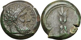 Sicily. Aitna. AE 23 mm, 344-338 BC. D/ Laureate head of Zeus Eleutherios right. R/ AITN-AIΩN. Upright thunderbolt. AE. g. 10.63 mm. 23.00 R. Rare. De...
