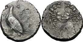 Sicily. Akragas. AR Didrachm, 510.495 BC. D/ ΑΚΡΑC[ΑΝΤΟΣ]. Sea eagle standing left. R/ Crab. SNG ANS 912; HGC 87; Jenkins, Gela, Group Ia. AR. g. 9.04...